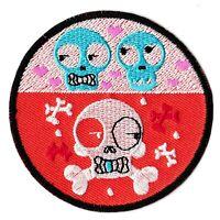 Patche écusson têtes de mort fantaisie patch brodé décoration vêtement