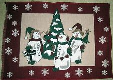 """1 Cute """"Three Snowmen Chenille Tapestry"""" Pillow Top Christmas Fabric Panel"""
