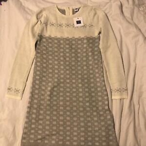NWT JANIE AND JACK Ivory Gray Fair Isle Sweater Dress Size 10