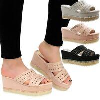 Ladies Womens High Heels Wedges Diamante Espadrilles Platform Sandals Shoes Size