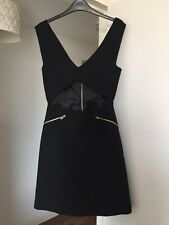 Zara Woman Studio Dress Size S, Cut Out At Waist Black Dress With Zips Party