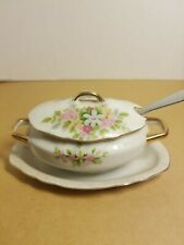 Antique sugar bowl with lid and spoon from Japan.