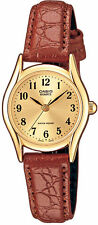 Casio Women's Brown Leather Strap Watch, Champagne Dial, LTP1094Q-9B
