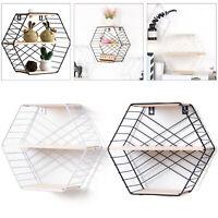 Hexagon Metal Wood Wall Shelf Modern Loft Dorm Storage Shelf Black White New