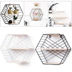 Hexagon Metal Wood Wall Shelf Modern Loft Dorm Storage Shelf Black White New