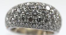 Lady's Genuine Natural Diamond Pave Ring 18K White Gold 4.00 Total Carat *NICE*