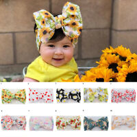 BABY GIRLS SUNFLOWER BIG BOWKNOT WIDE HEADBAND TURBAN HEADWRAP HAIR ACCESSORIES