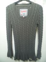 Robe tunique torsadée SUPERDRY gris en laine mélangée. T38