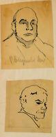 E. KLEPPER (*1906), Porträtstudien zweier Männer, 20. Jhd., Federzeichnung