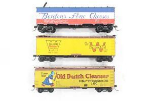 HO 3 Walthers Ice-Bunker Billboard Refrigerator Cars, Borden-Wilson's-Old Dutch