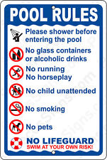 "POOL RULES on a  8"" wide x12"" high Aluminum Sign - Made in USA - UV Protected"