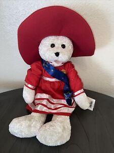 "Chantilly Lane Plush Bear 22"" Betsy Red Hat  Musical God Bless America Singing"
