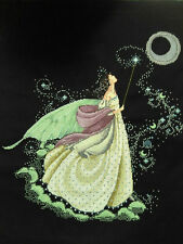 """LARGE New Completed finished cross stitch needlepoint""""MOON FAIRY""""home decor gift"""