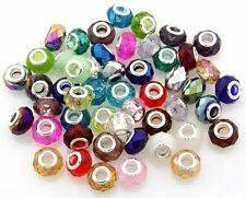 Bulk Lots 100 Mix Crystal Glass Beads Big Hole Fit European Charm Bracelet ZH06