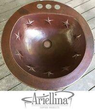 Ariellina Gauge Texas State Handmade Round Bath Copper Sink Life Warranty AC9002