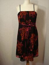Teatro black & red/pink rose/floral chiffon evening dress 14
