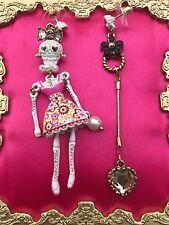 Betsey Johnson White Lace Sugar Skeleton Skulls Pink Dress Mismatch Earrings