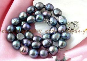 "Genuine 9-10mm Huge Black Natural Baroque Freshwater Pearl Necklace 18"""