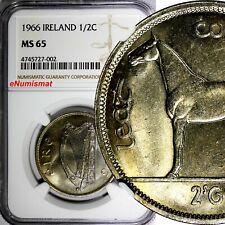 Ireland Republic 1966 1/2 Crown NGC MS65 BETTER DATE Irish harp / Horse KM# 16a
