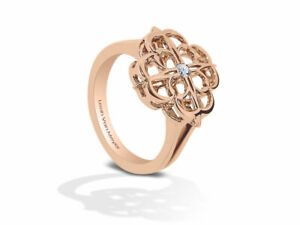 Iconic Signature Diamond Cocktail Ring in 18k Rose Gold by Leah Van Meyer