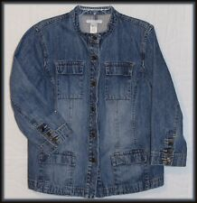 Liz Claiborne jean jacket L denim Crazy Horse coat rodeo cowgirl