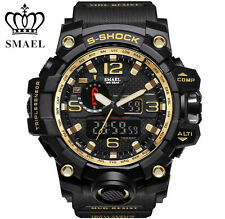 SMAEL Men's Sports Analog Digital Military Wrist Watch Black Gold Waterproof