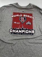 ST. LOUIS CARDINALS, 2011 World Series CHAMPS T SHIRT 2XL  Tagless Majestic
