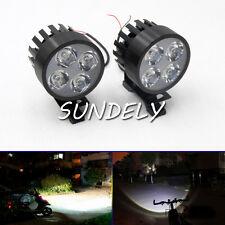 Black 2Pcs Motorcycle 4LED Fog Spot Motorbike Front Headlight Light Lamp 12-85V
