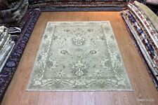 6' x 8' ELEGANT ORIENTAL RUG Handmade Hand Knotted Soft Color Silver Beige Green