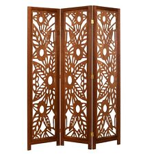 3 Panel Wood Screen Room Divider, Walnut Brown With Decorative Floral Cutouts