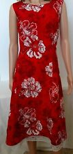 Line A Domani Size 16 Hawiiann Red White Floral Dress Lined Ruffle Side Zipper