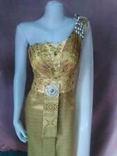 THAI TRADITIONAL GOLD BRIDAL WEDDING DRESS EMBROIDERY BEAUTIFUL DESIGN