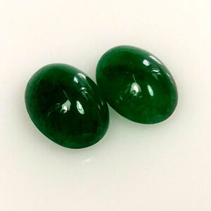 Emerald Cabochon Natural Zambian Blueish Green Emerald 10.55 Carat 6.7X12.2X7 MM Oval Shape Untreated Loose Gemstone For Ring and Pendant