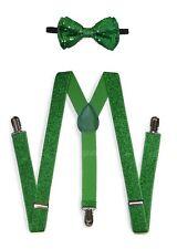 Green Men Women Clip-on Suspender + Bow-Tie All Glitter Sequin Combo Adjustable