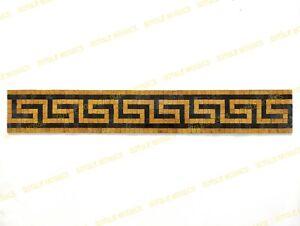 Versace marble mosaic greek key border , black and gold , handmade customizable