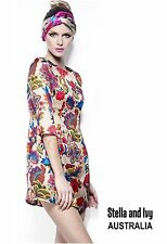 floral skater boho party cocktail dress size 10 au womens new