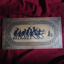 Antique 19.C. Handpainted Silouette Wood Art Draw Nouveau Rabbit Army Funny Tale