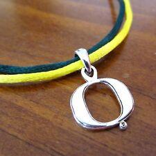 UNIVERSITY OF OREGON DUCKS Green Yellow SATIN NECKLACE w PEWTER O LOGO PENDANT