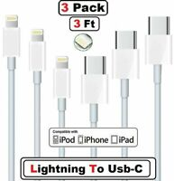 3Pack For iPhone 12 11 Pro Max XS iPad USB-C to L iPhone Cable Fast Charger Cord