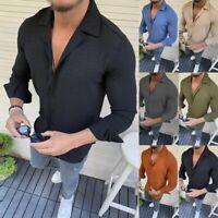 Herren Herbst Shirt Lässig Langarm T-Shirt Grandad Collar Tops Muscle Shirts