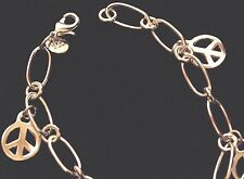 Peace Sign 925 silver Oval Chain Link Charm Bracelet
