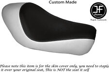 BLACK WHITE VINYL CUSTOM FITS HARLEY SPORTSTER LOW IRON 883 SOLO SEAT COVER ONLY