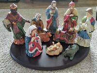 CHRISTMAS NATIVITY SET 10 PIECE COLLECTION BABY JESUS WISEMEN SHEEP MOTHER MARY