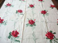 "Vintage 1950's Tablecloth Cotton Red Roses Floral Print 54"" X 48"""