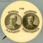 Hanna US Senate Herrick Governor Ohio 1903 Jugate Campaign Pin Pinback Button