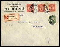 SWEDEN STOCKHOLM CIVILINGENIOR  APRIL 24 1918 REGISTERED AD COVER TO HELSINGFORS