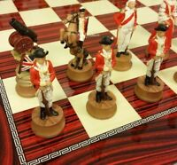 "*** AMERICAN REVOLUTIONARY WAR CHESS SET W/ CHERRY COLOR BOARD 17"" Independence"
