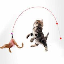 Fun Kitten Cat Toy Feather Bell Rod Teaser Bell Play Pet Dangler Wand NEW UK