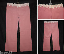 """Ladies Lace Top Cord Bootcut Trousers Size 12 L31.5"""" Pink Corduroy Womens New"""