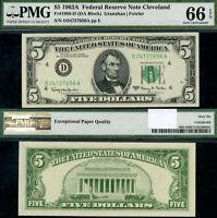 FR. 1968 D $5 1963-A Federal Reserve Note Cleveland D-A Block Gem PMG CU66 EPQ